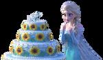 Elsa and cake - Png