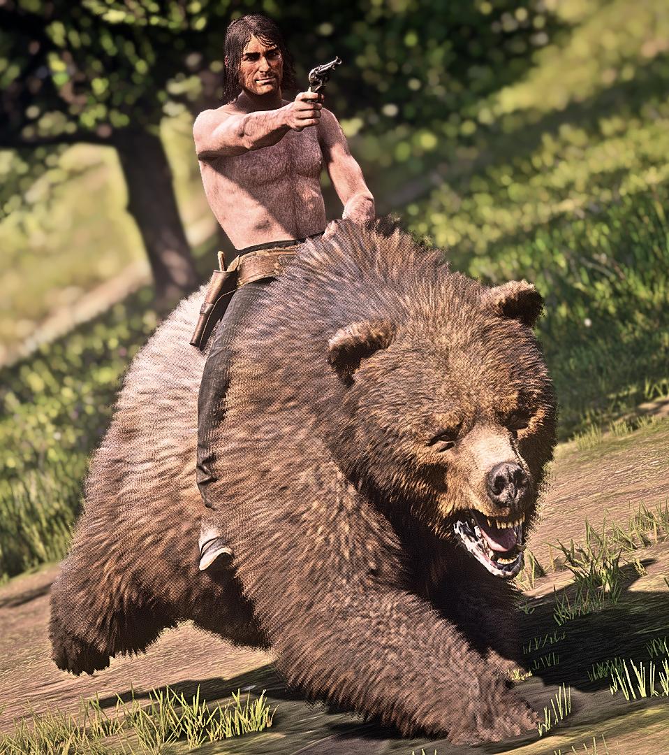John Marston riding a bear