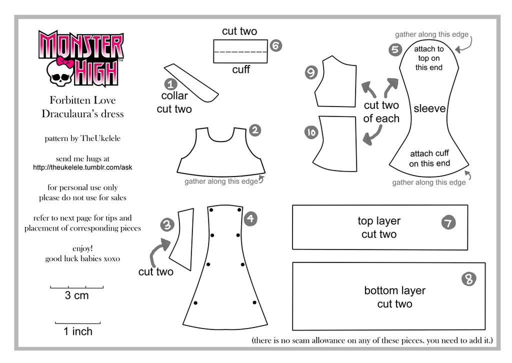 Как сшить платье для куклы монстер хай своими руками