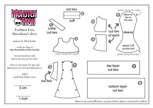 Monster High FL Draculaura dress pattern PART 1
