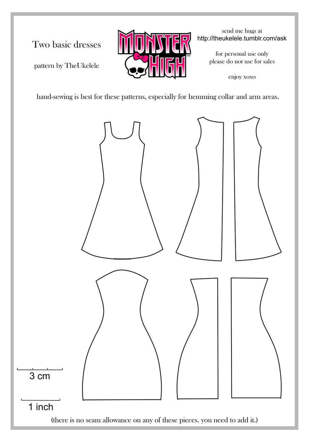 Monster High Two Basic Dress Patterns by TheUkelele on DeviantArt