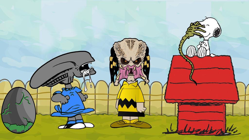 Peanuts Alien versus Predator by Brandtk
