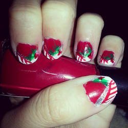 Nail Art- Christmas tips by Luna-child