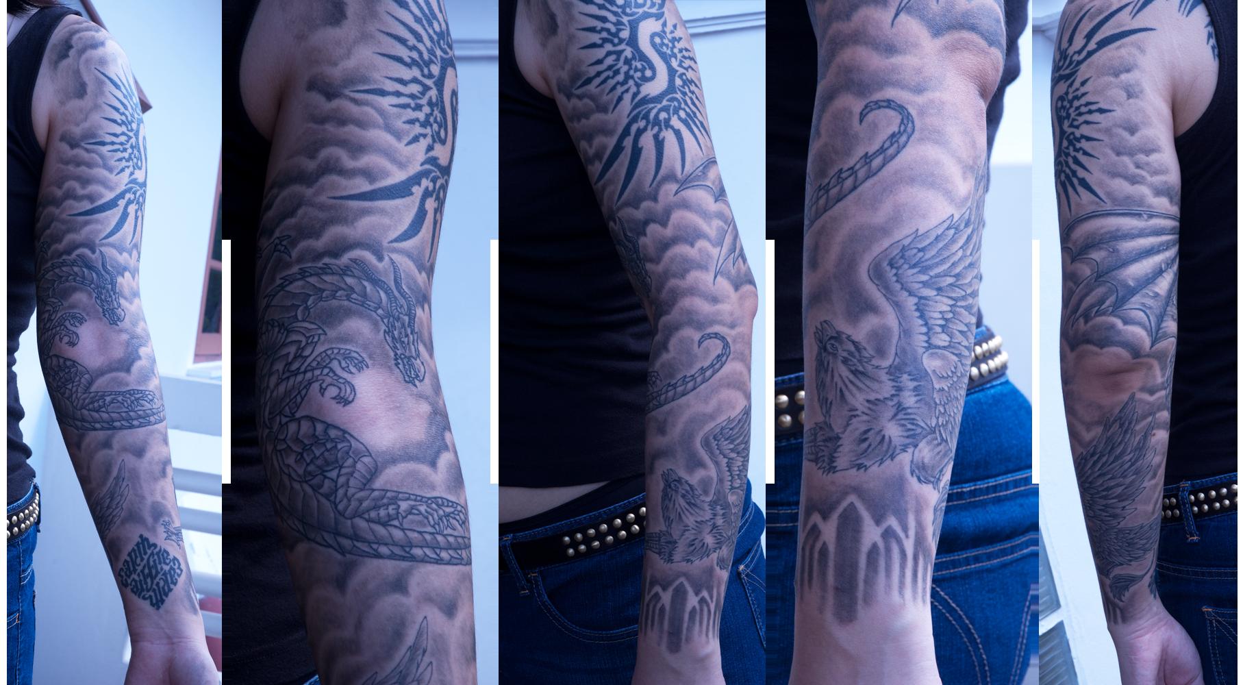 My full sleeve tattoo by sigisfeld on deviantart for Full sleeve tattoo clouds