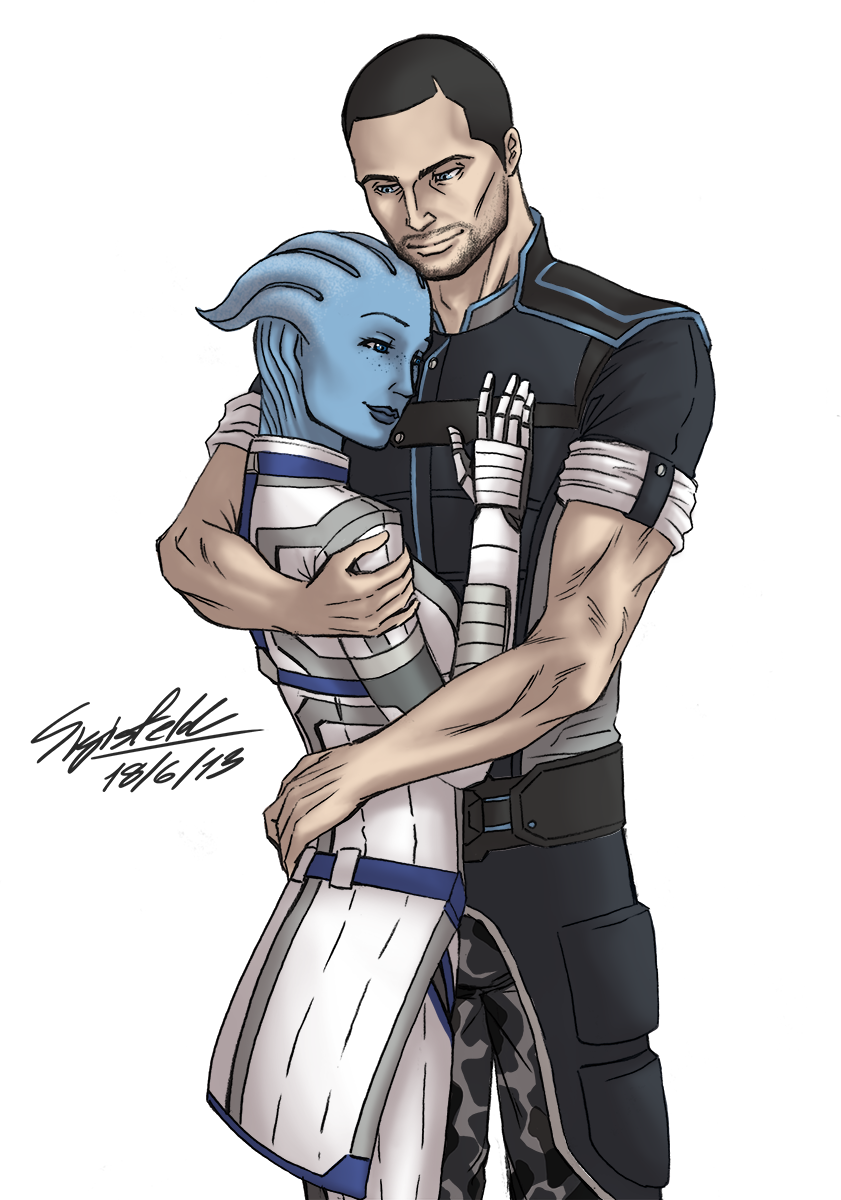 Liara and Shepard_color by Sigisfeld