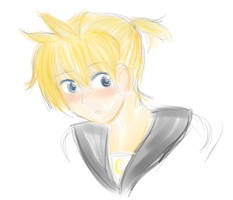 Kagamine Len mypaint sketch by Lauy-Catta