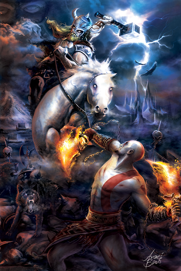 Thor vs Kratos by andrebdois