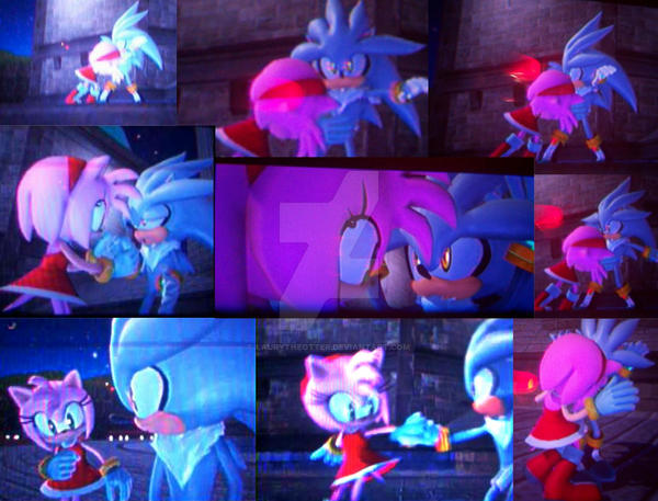 Silver meets Amy Rose by Amy Rose And Silver The Hedgehog Kissing
