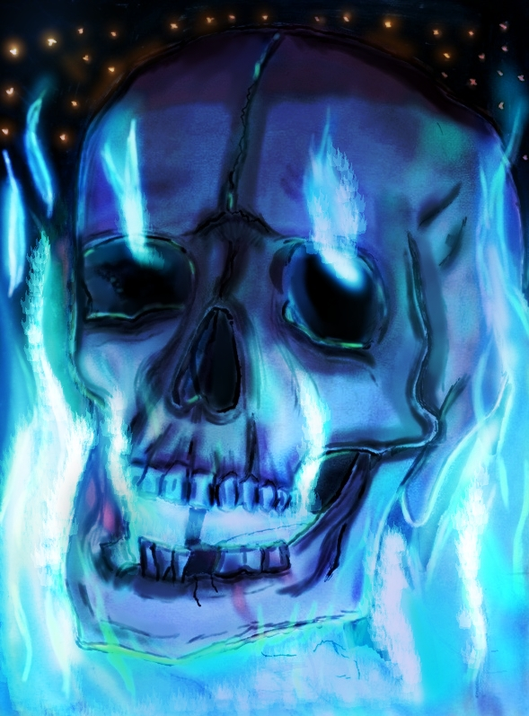 blue flames skull flame - photo #11
