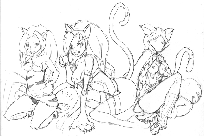 Catgirls by regulusneo