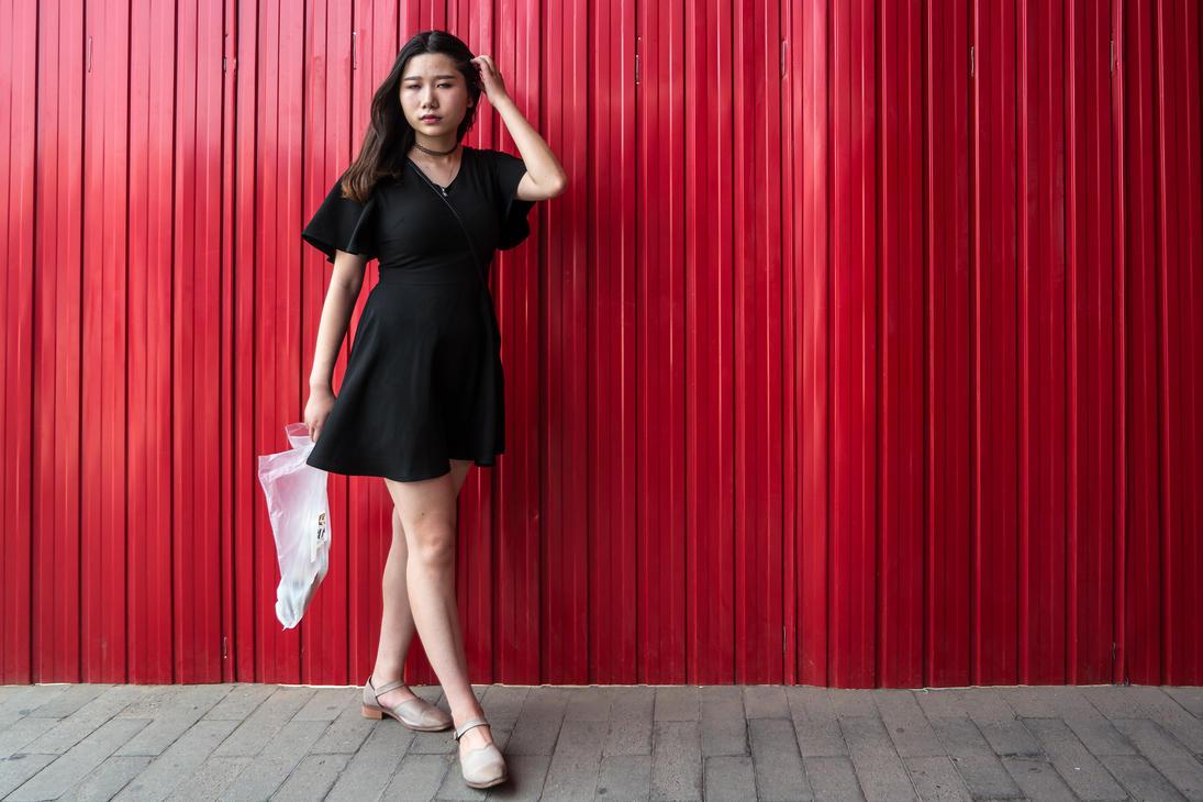 Woman at Red Wall by niklin1