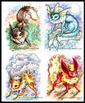 Eevee + 'eons paintings 1-4