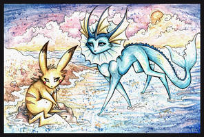 Pikachu and Vaporeon by IceandSnow