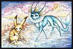 Pikachu and Vaporeon