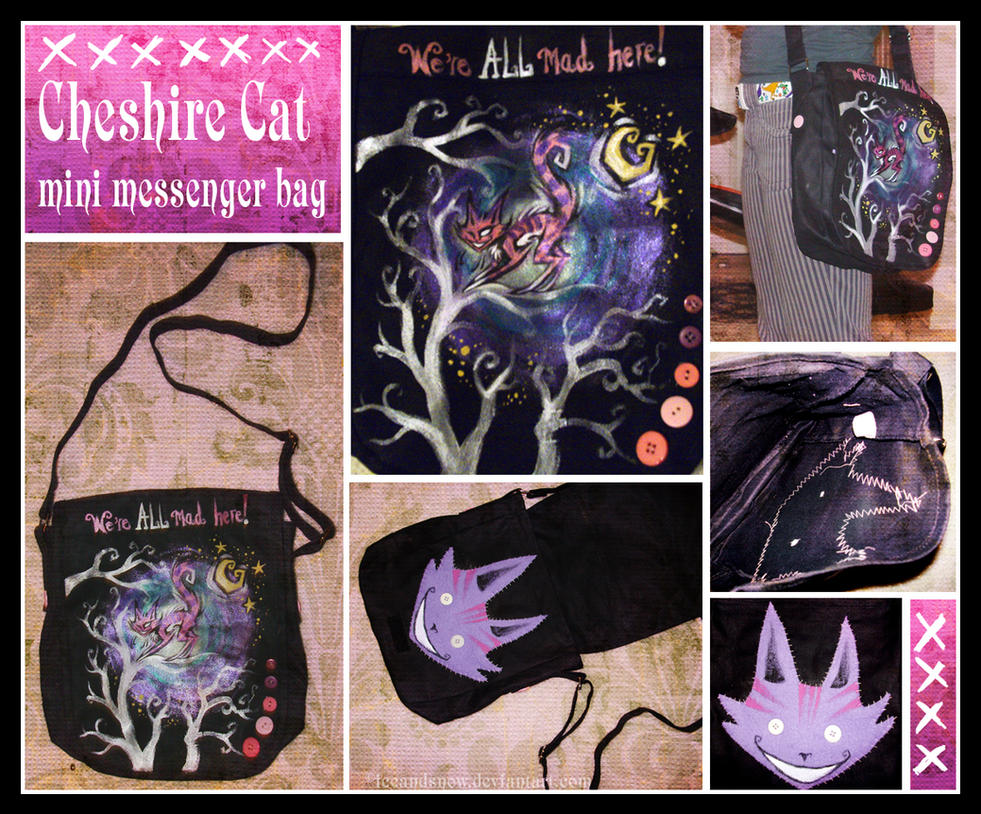 Cheshire Cat Messenger Bag by IceandSnow