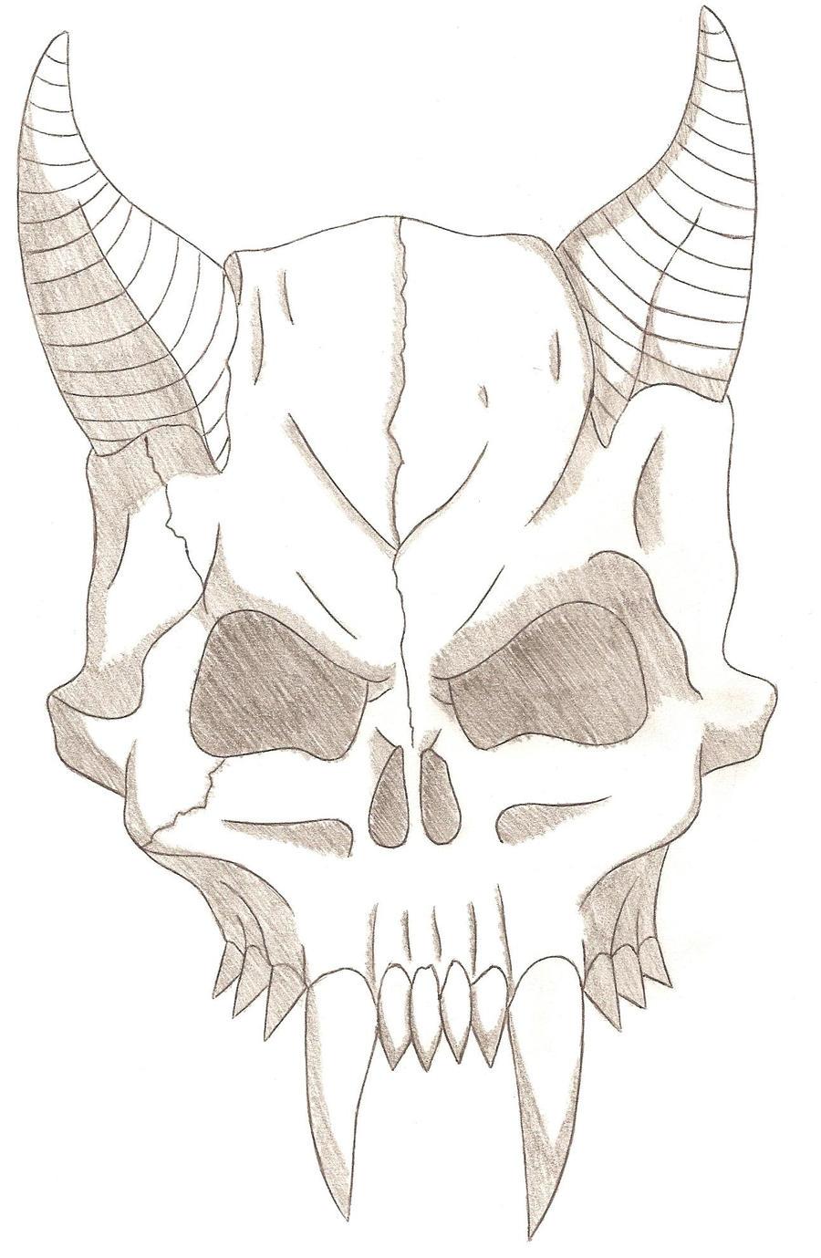 Pictures Of Easy Demon Skull Drawings Kidskunst Info