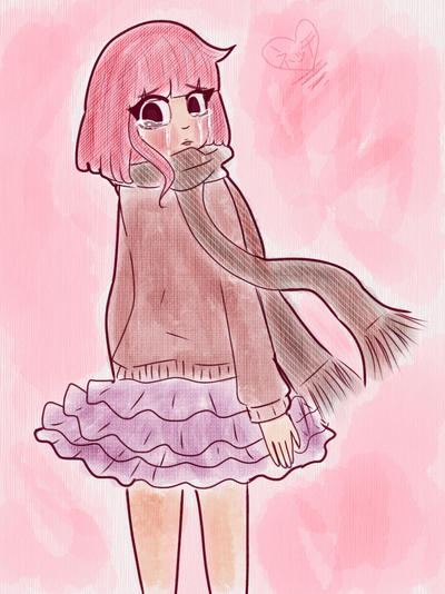 Pink hair cute girl, Meme crying