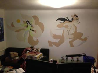 Ahri + Blackbird wall painting