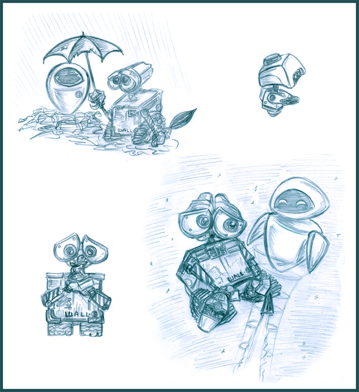 WALL-E sketches by Lilostitchfan