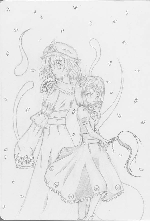 Yuyuko and Youmu by Moogri