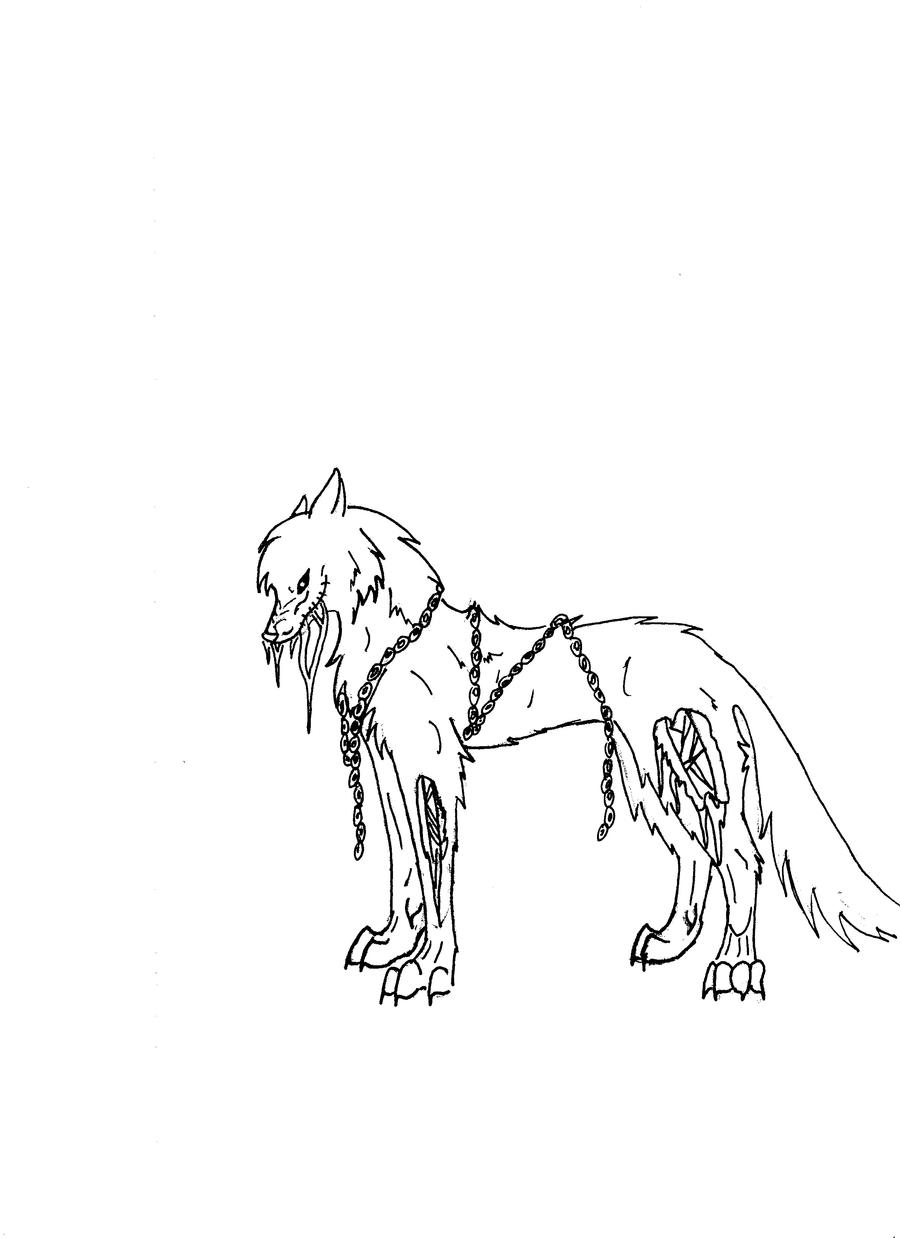 Zombie wolf lineart