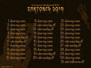 Inktober 2019 Official Prompt List!