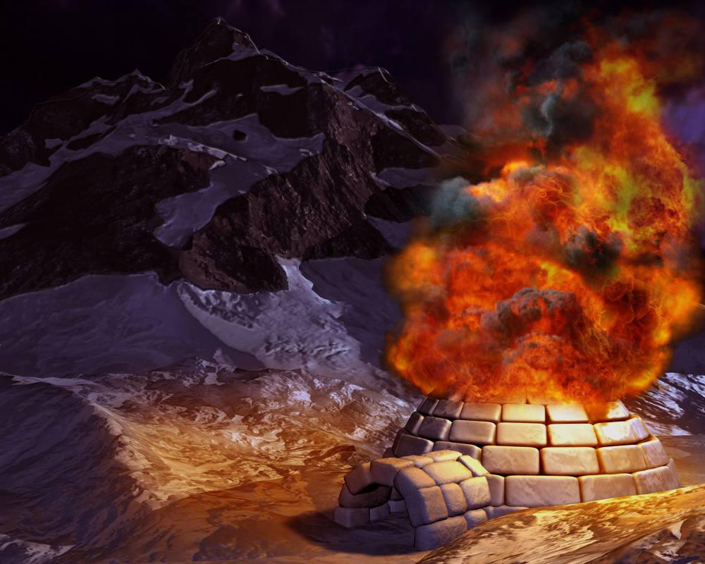 igloo on fire by wesleyb on deviantart. Black Bedroom Furniture Sets. Home Design Ideas