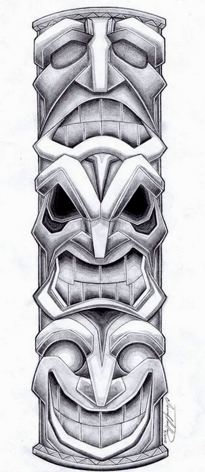Totem Pole Drawing Totem Pole Tattoo Design by