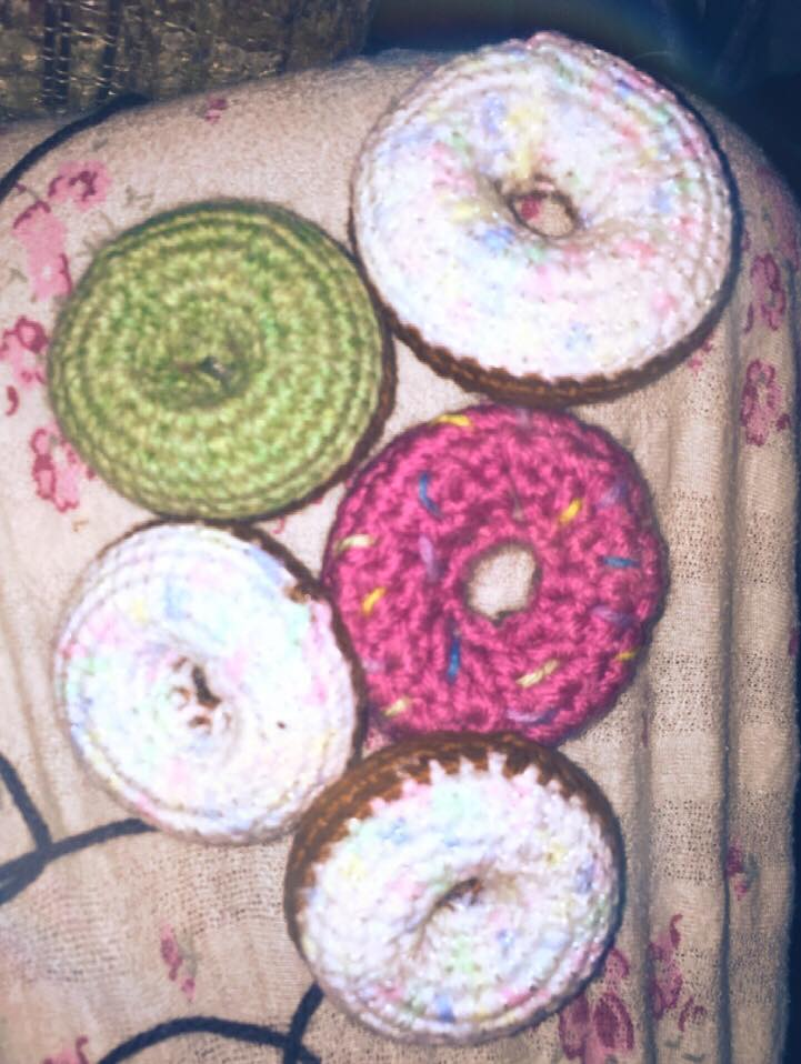 some finished crochet donuts i made. by BlueannsYarnArt82