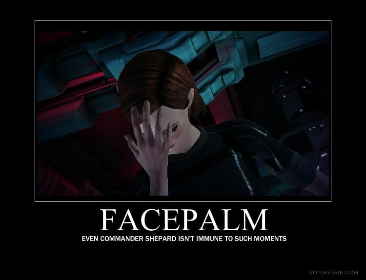 Commander Shepard's facepalm by PureLightHealer