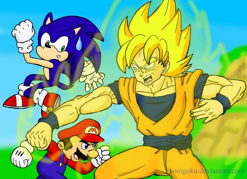 Mario and Sonic VS Son Goku by sonigoku on DeviantArt