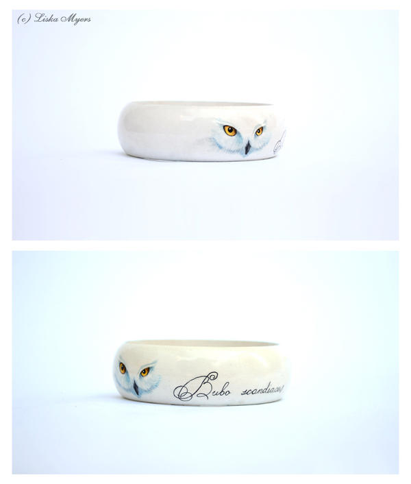 Snowy Owl: Hand-Painted Bracelet by DoodleDuo