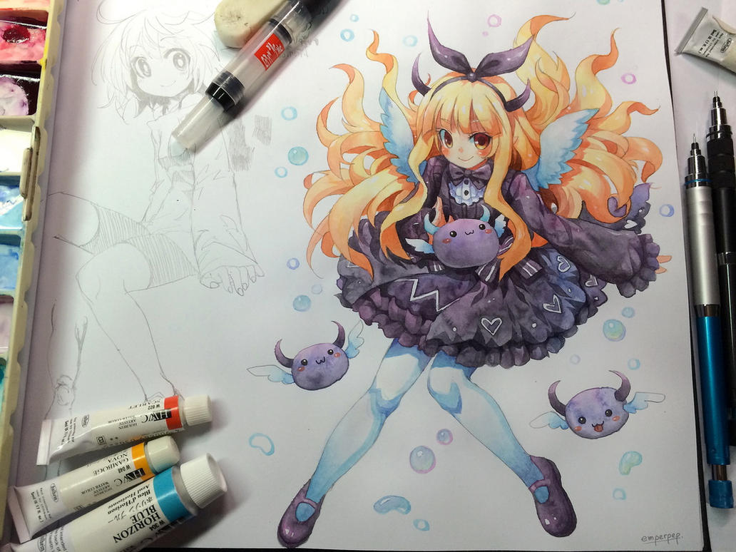 watercolor sketch for lovexparody by emperpep on deviantart