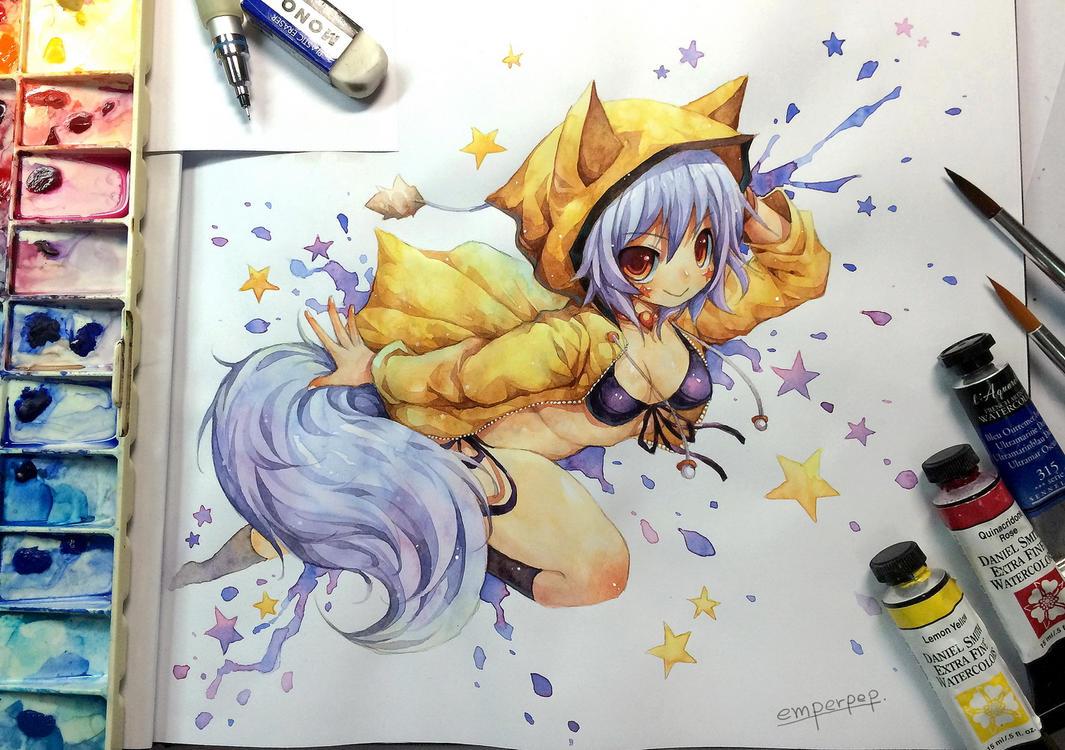 Watercolor : KitsuneYin by emperpep