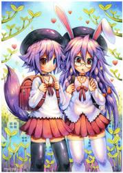 Watercolor : Asura and Raiu by emperpep