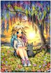 Watercolor : Girl and Kitties