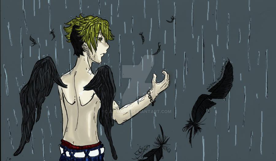 Raining rain and feathers by AiriYumi
