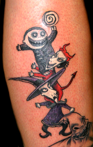 my nightmare before christmas tattoo jack and sally standing on top of the hill with oogie. Black Bedroom Furniture Sets. Home Design Ideas