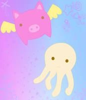 Squid and Pig by thnogones