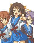 Mikuru, Haruhi and Yuki