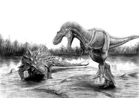 The two dinosaurs clash! by Anuperator
