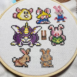 The Video Game Bunny Convention Cross-stitch