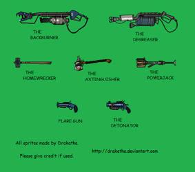 TF2- Custom BLU Pyro Weapon Sprites by Drakatha