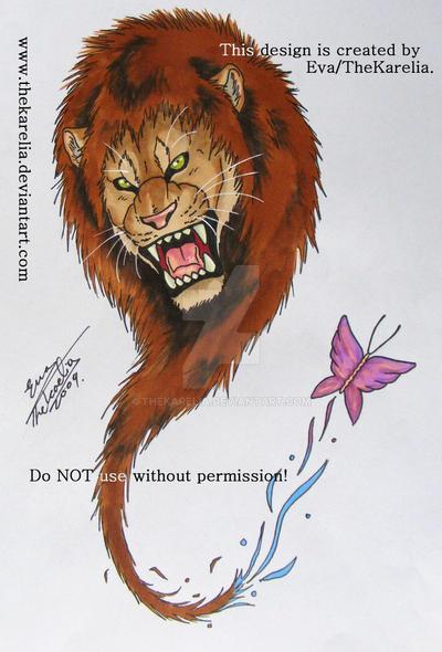 lion tattoo design by thekarelia on deviantart. Black Bedroom Furniture Sets. Home Design Ideas