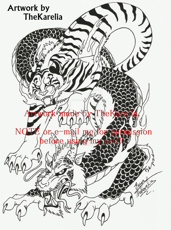 Tiger And Dragontattoo Design By Thekarelia On Deviantart