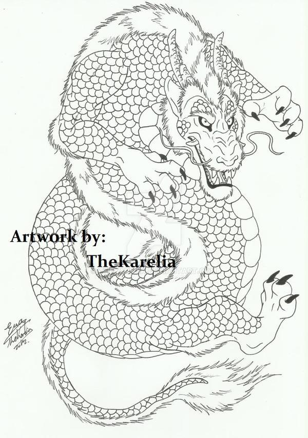 Dragon Tattoo Outline By Thekarelia On Deviantart