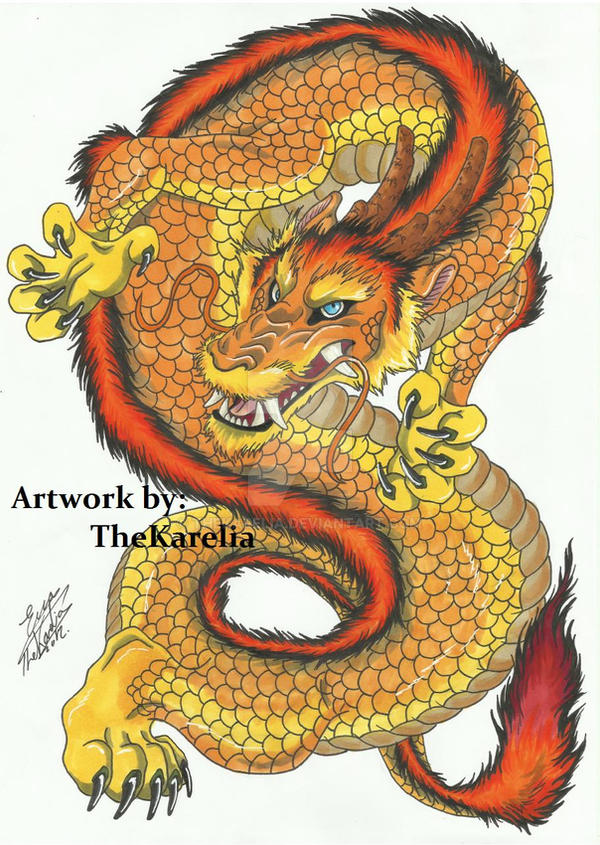 Commissioned Dragon Tattoo Design by TheKarelia