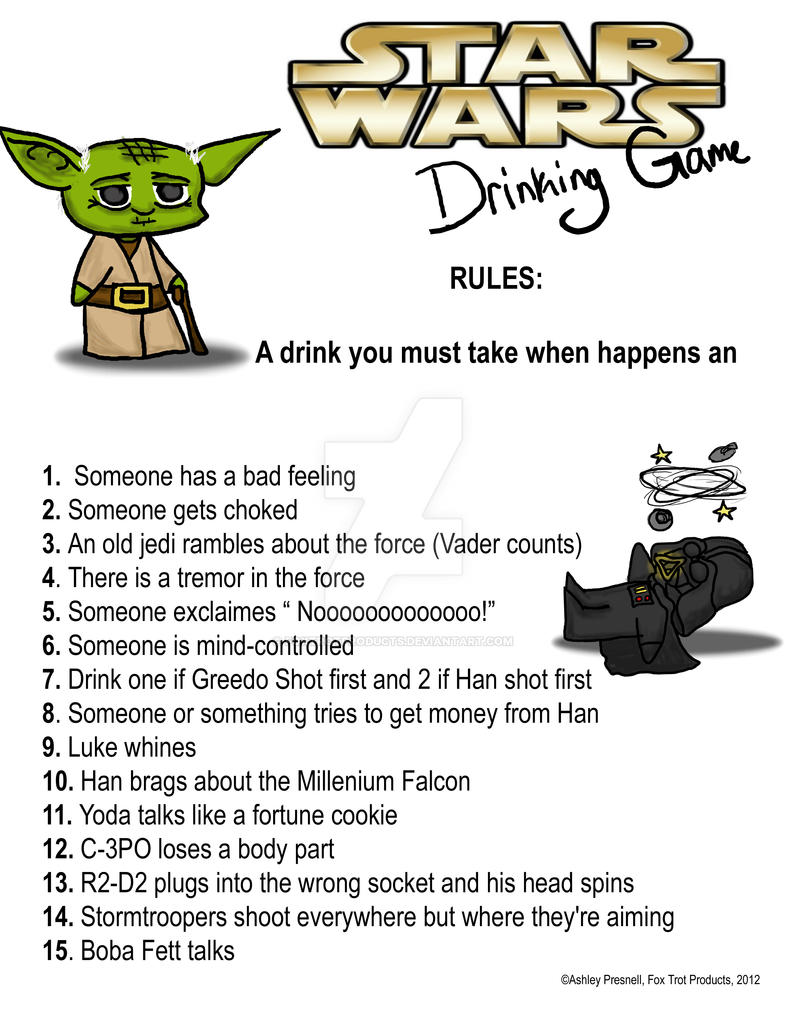 Star Wars Drinking Game by FoxTrotProducts