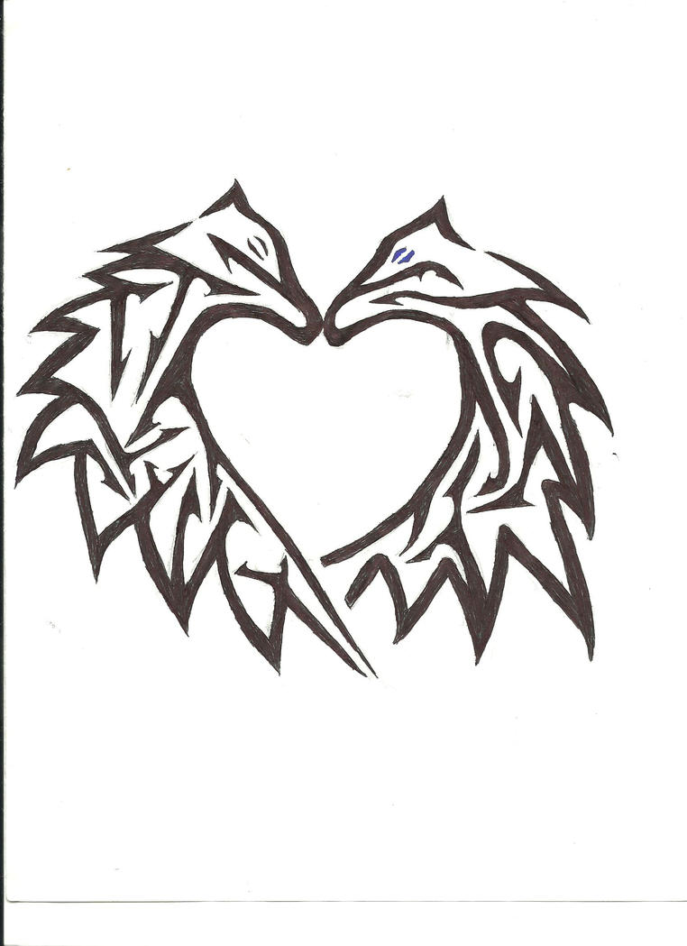 Cool Designs To Draw On Your Binder Tribal Wolf Heart by C...