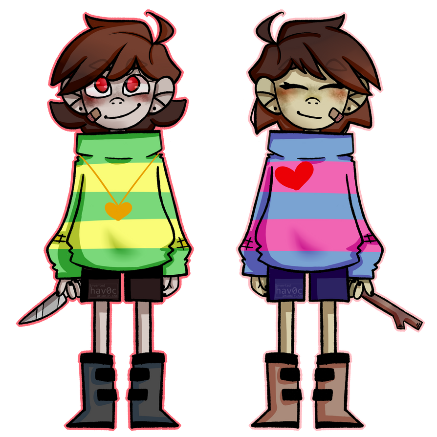 Chara and Frisk by OctoberWay